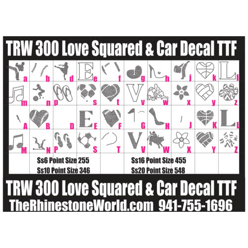 TRW 300 Love Squared and Car Decal Rhinestone TTF - Download