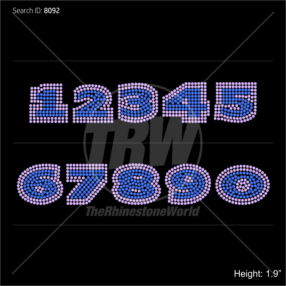 TRW 4500 Numbers Rhinestone TTF - Download