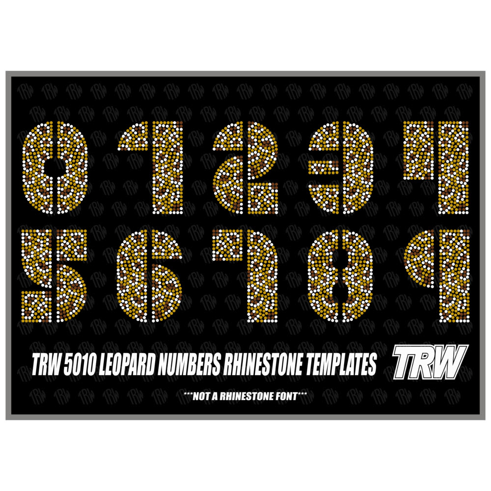 TRW 5010 Leopard Numbers Rhinestone Design - Download