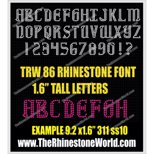 TRW 86 1-Color Rhinestone Uppercase Alphabet - Download