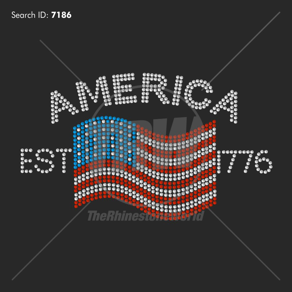 America Established Rhinestone Design - Pre-Cut Template