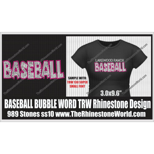 TRW Baseball Bubble Word Rhinestone Design  - Download