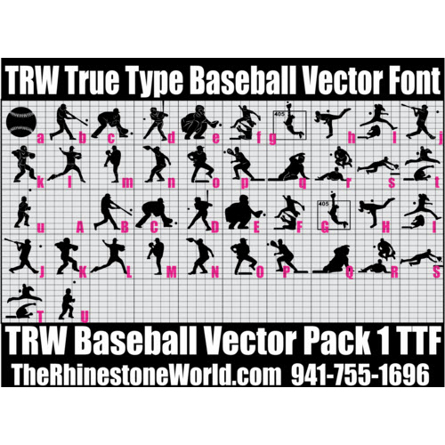 TRW Baseball Pack 1 TTF True Type Font Heat Transfer Vinyl/C - Download