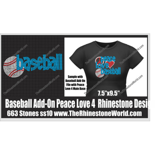 TRW Baseball Peace Love 4 Rhinestone Design  - Download
