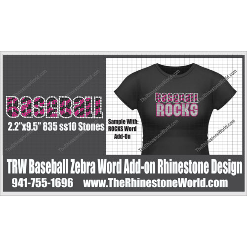 TRW Baseball Zebra Add-on Rhinestone Design  - Download