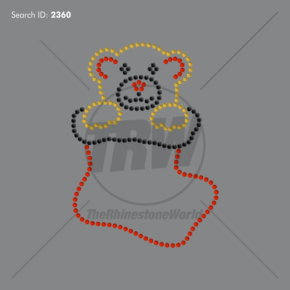 Bear Stocking Rhinestone Design - Download