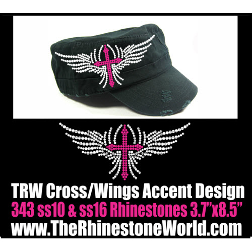TRW Cross Wings Accent 1 Rhinestone Design  - Download
