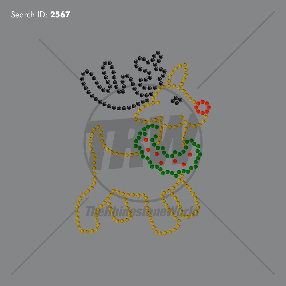 Cute Reindeer Rhinestone Design - Download