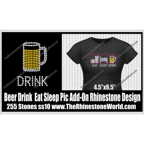 TRW Drink Beer Eat Sleep Pic Add-On Rhinestone Design  - Download