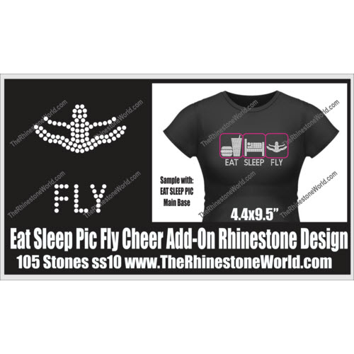 TRW Fly Cheer Eat Sleep Pic Add-On Rhinestone Design  - Download