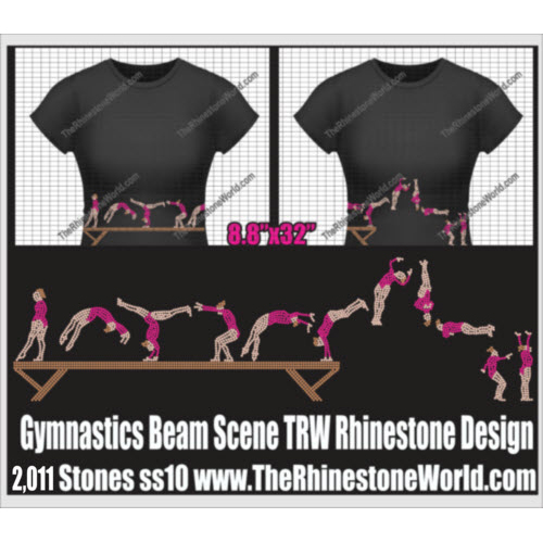 TRW Gymnastics Beam Scene Rhinestone Design  - Download