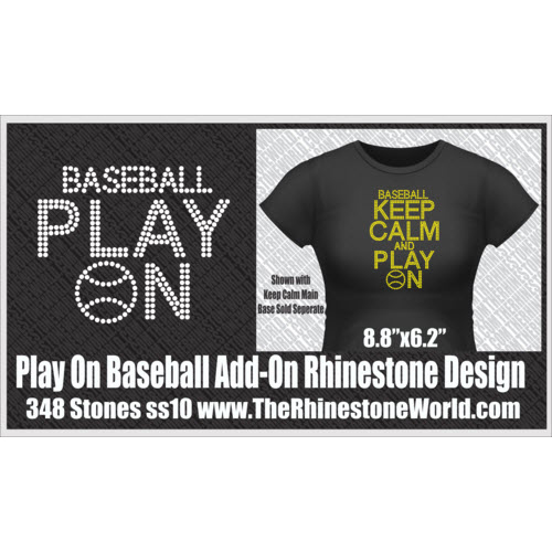 TRW KEEP CALM Baseball Play On Rhinestone Design  - Download
