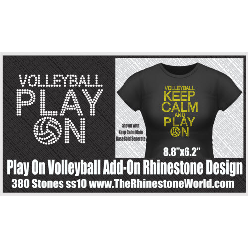 TRW KEEP CALM Volleyball Play On Rhinestone Design  - Download