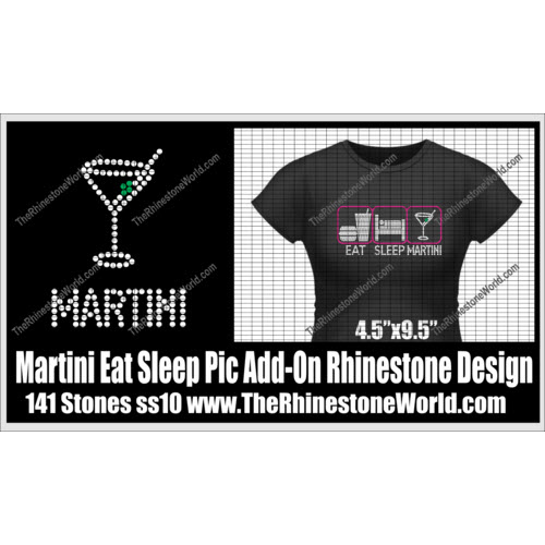TRW Martini Eat Sleep Pic Add-On Rhinestone Design  - Download