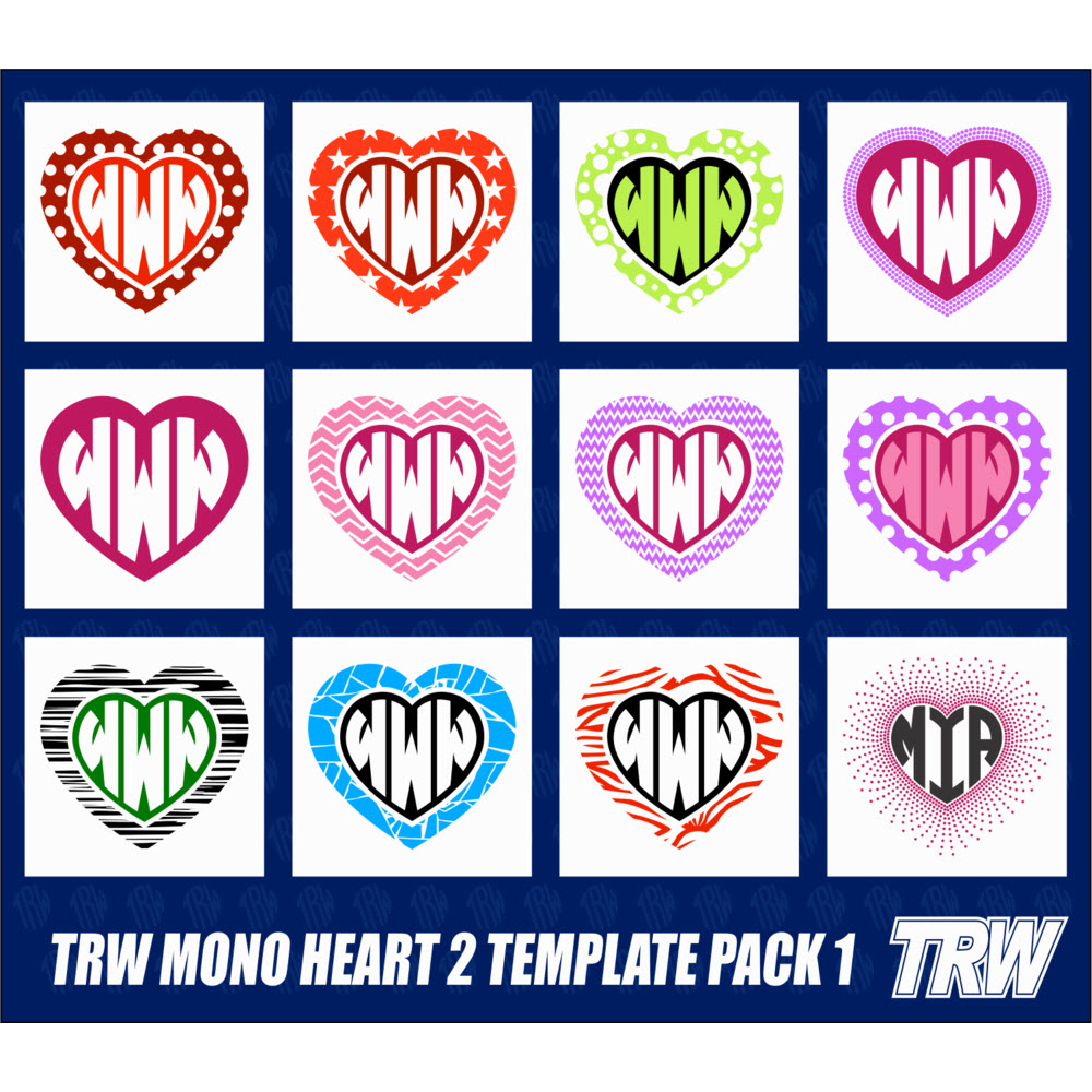 TRW Monogram Heart 2 Template Pack 1 - Download
