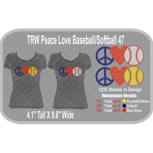 TRW Peace Love Baseball/Softball 47 Rhinestone Design  - Download