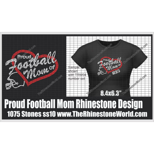TRW Proud Football Mom SF Rhinestone design  - Download