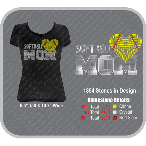 TRW Softball Mom 46 Rhinestone Design  - Download