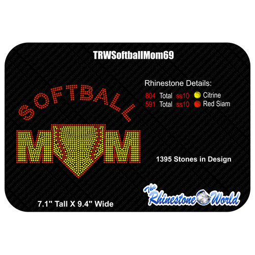 TRW Softball Mom 69 Rhinestone Design  - Download