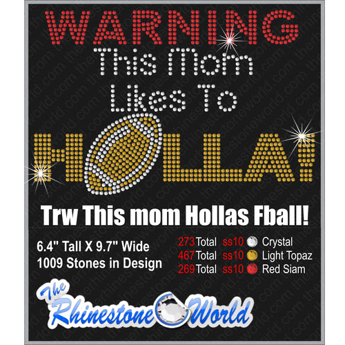 TRW This Mom Hollas Football  Design   - Download