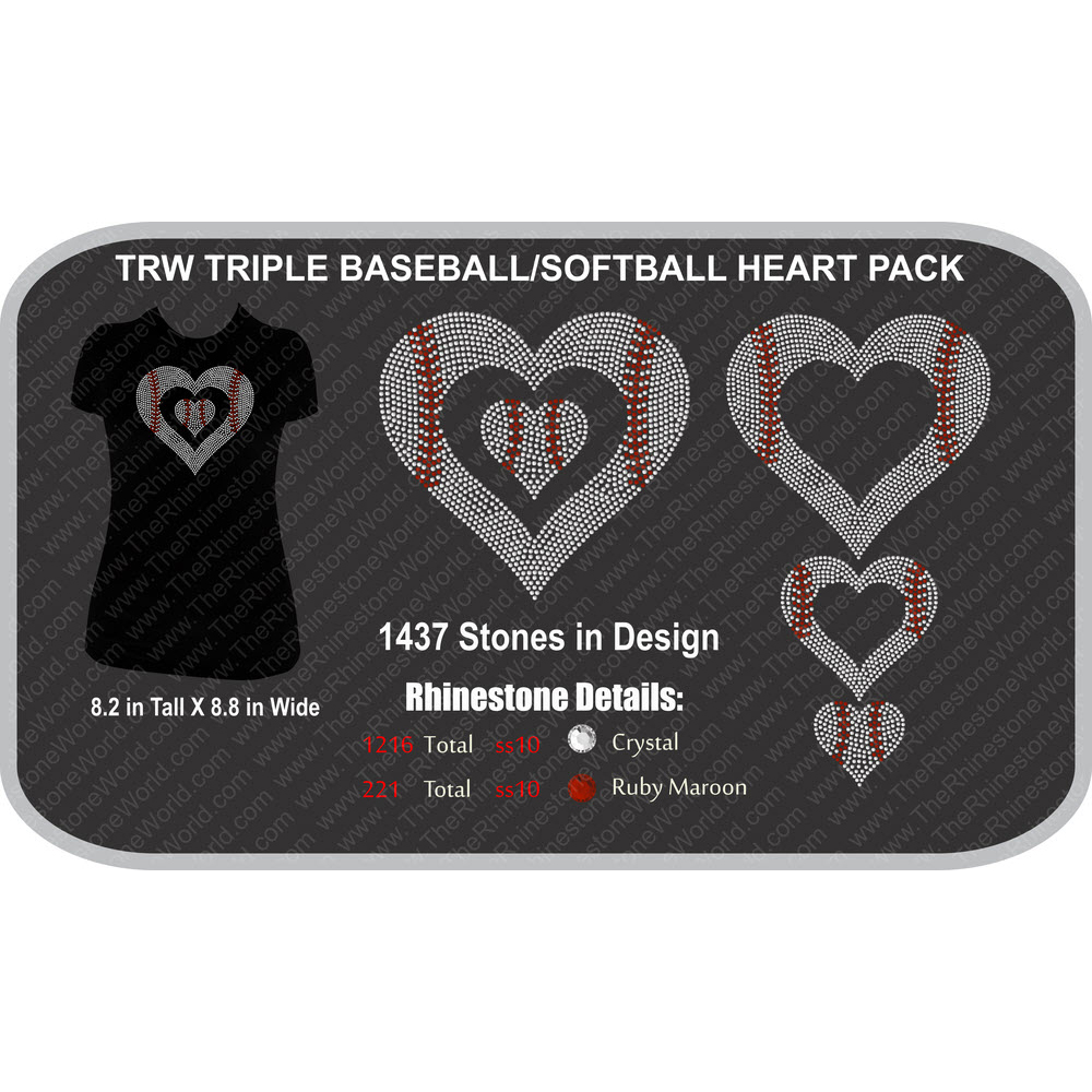 TRW Triple Baseball/Softball Heart Pack Design  - Download