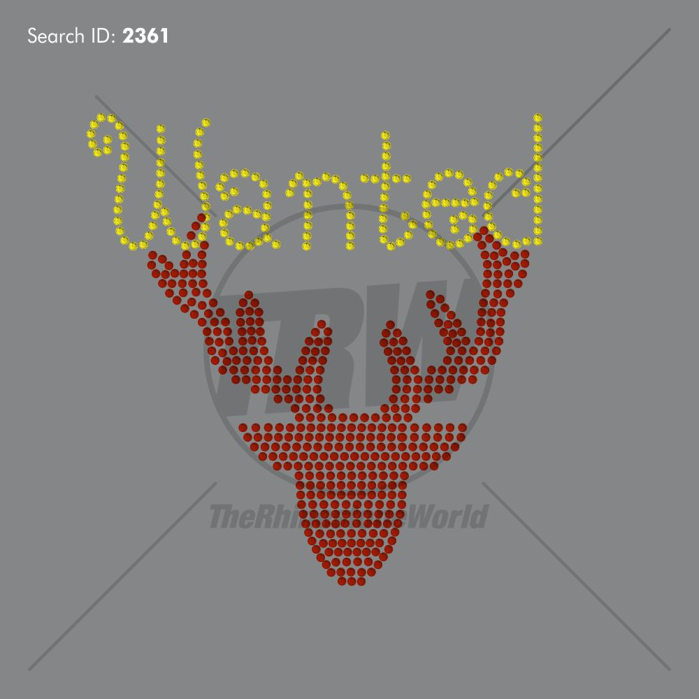 Wanted Reindeer Rhinestone Design - Download