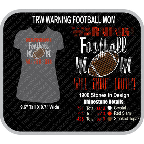TRW Warning Football Mom Rhinestone Design  - Download