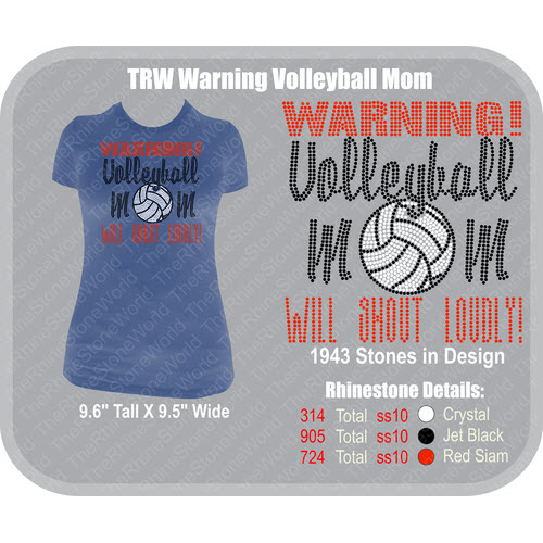TRW Warning Volleyball Mom Rhinestone Design  - Download