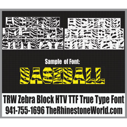TRW Zebra Block HTV TTF True Type Font Heat Transfer Vinyl - Download