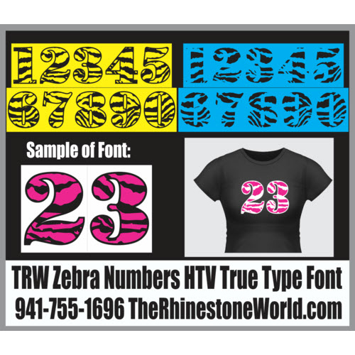 TRW Zebra Numbers HTV TTF True Type Font Heat Transfer Vinyl - Download