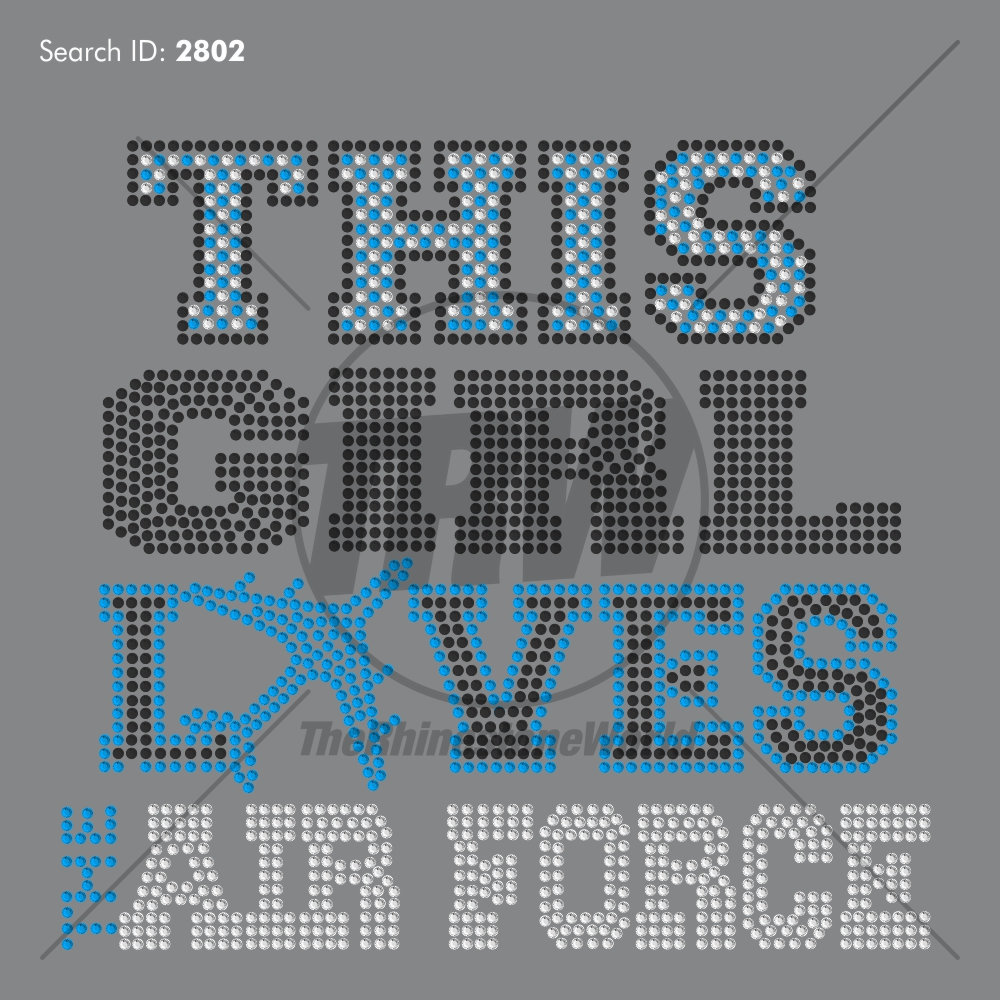 This Girl Loves The Air Force 33 Rhinestone Design - Download