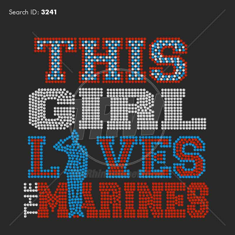 This Girl Loves The Marines 33 Rhinestone Design - Download