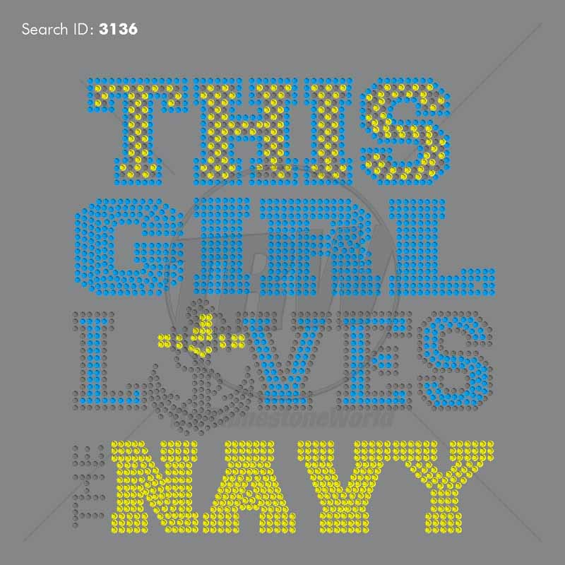This Girl Loves The Navy 33 Rhinestone Design - Download