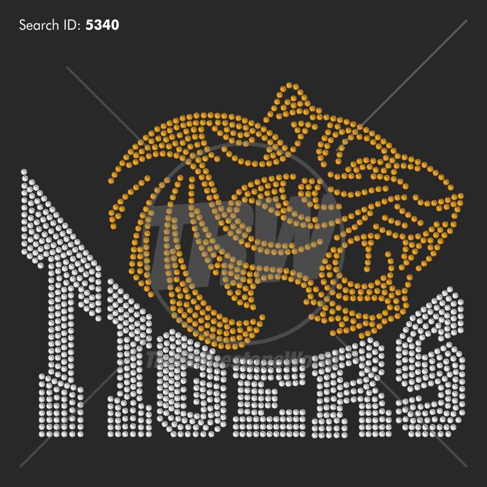 Tigers 55 Rhinestone Design - Pre-Cut Template