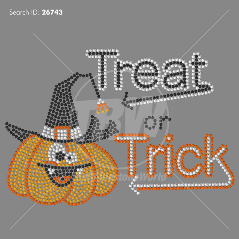 Trick Or Treat Rhinestone Design - Pre-Cut Template