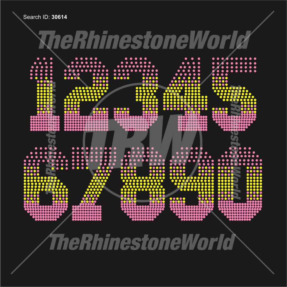 Trw 511 Shaded Numbers Rhinestone TTF - Pre-Cut Template