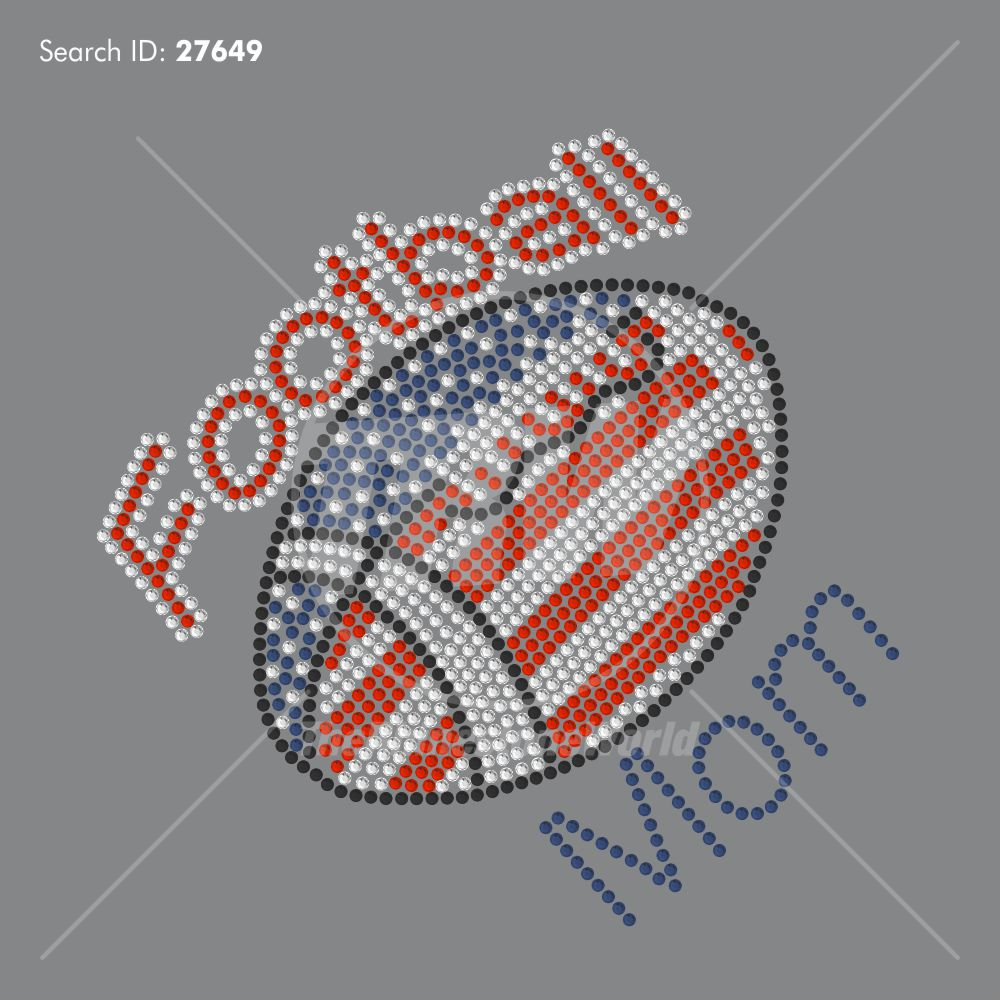 USA Football Mom Rhinestone Design - Pre-Cut Template