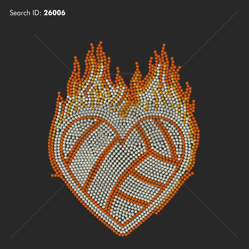 Volleyball Flame Heart Rhinestone Design - Pre-Cut Template