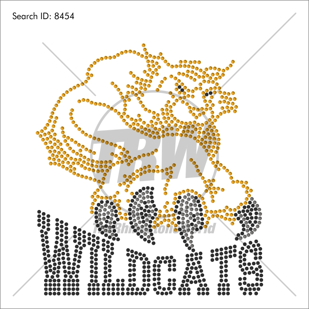 Wildcats 55 Rhinestone Design - Pre-Cut Template