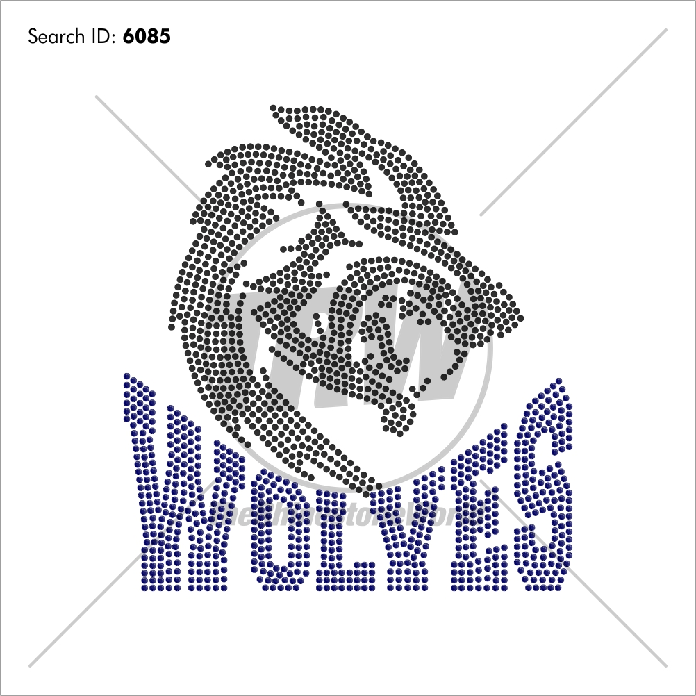 Wolves 55 Rhinestone Design - Pre-Cut Template