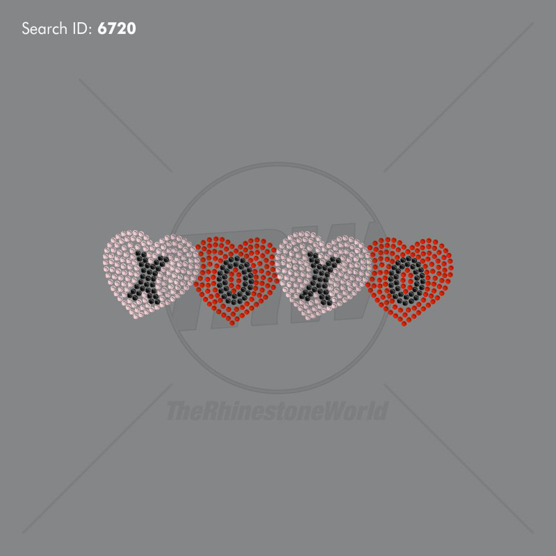 Xoxo Heart 2 Rhinestone Design - Pre-Cut Template