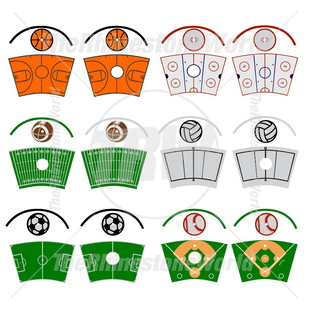 24oz Plastics Cup Template Mini Pack 5 (Sports Fields)