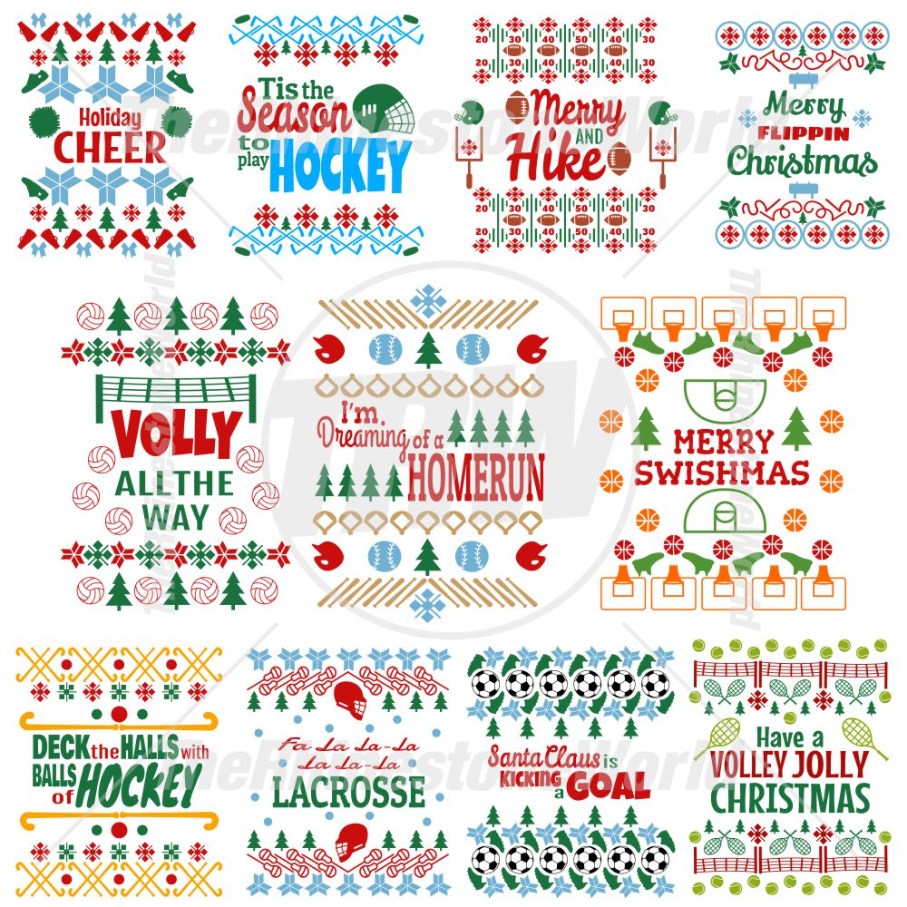 Ugly Sports Christmas Sweaters Live Template Mini Pack 1