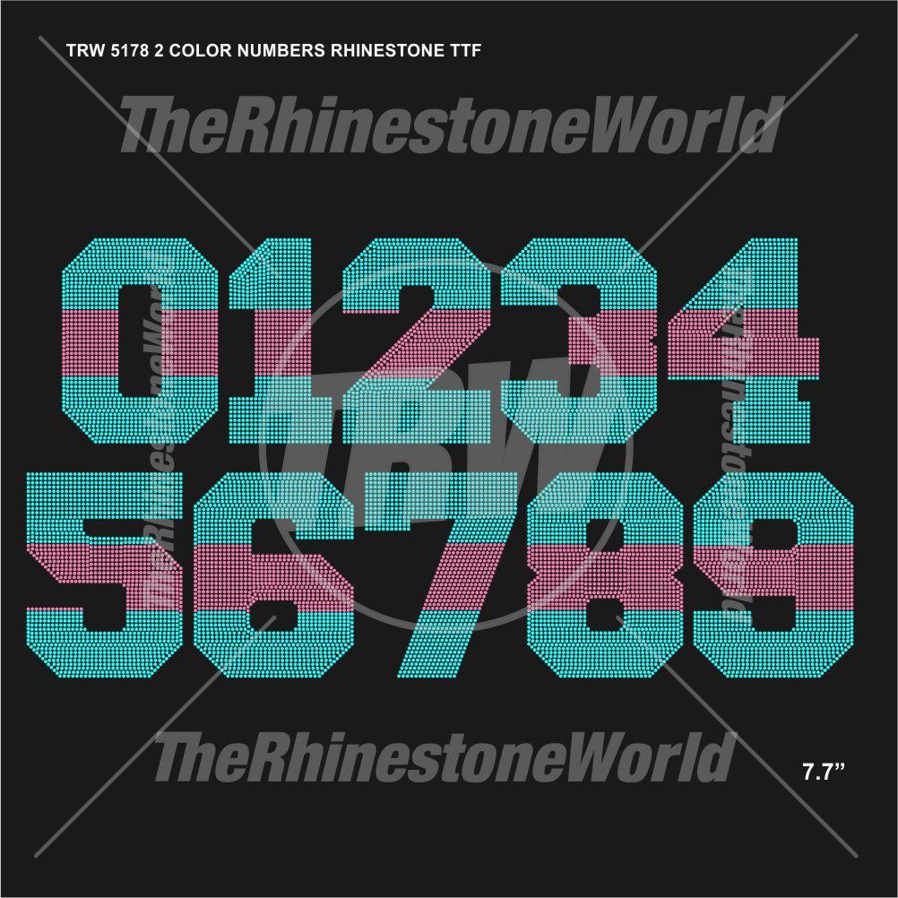 TRW 5178 2 Color Numbers Rhinestone TTF - Download