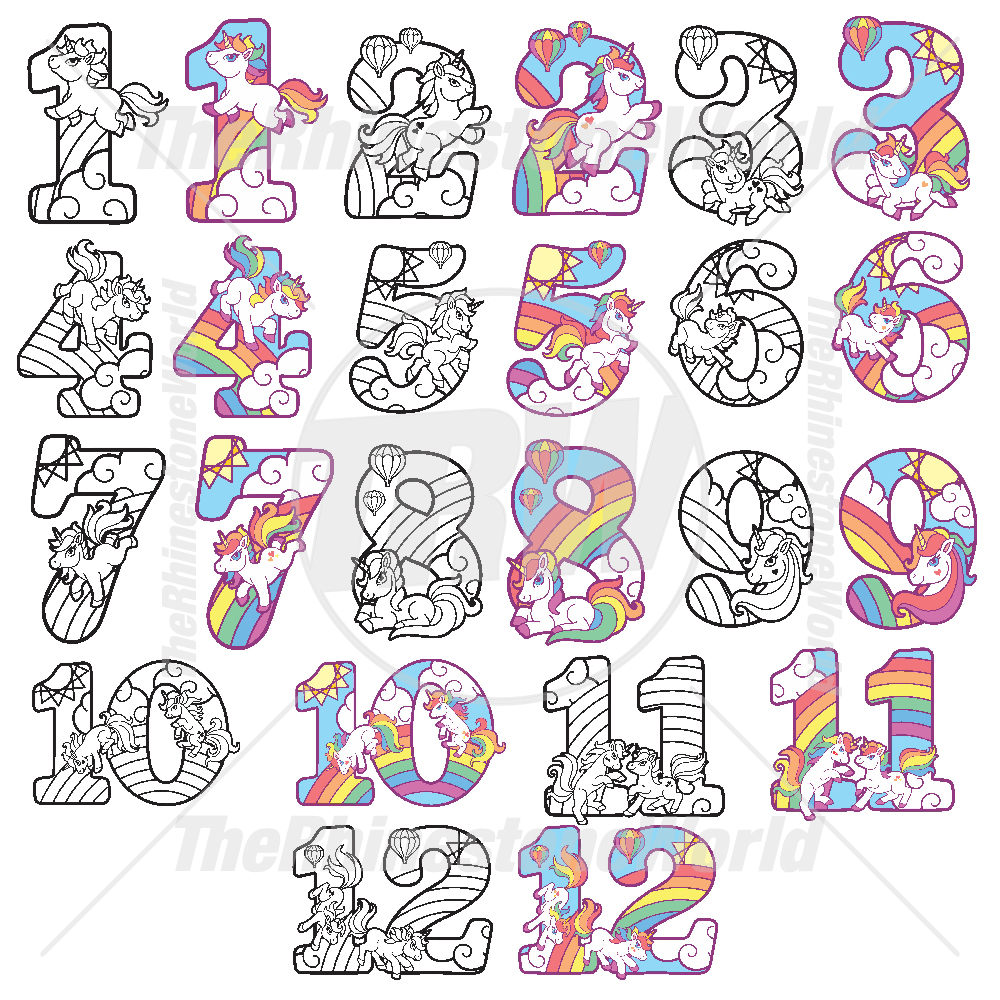 unicorn numbers live template mini pack