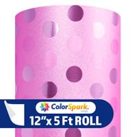 ColorSpark Glitter Textured Adhesive Vinyl - Light Pink Polka Dot (5 Foot Roll)