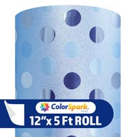 ColorSpark Glitter Textured Adhesive Vinyl - Powder Blue Polka Dot (5 Foot Roll)