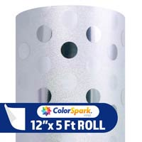 ColorSpark Glitter Textured Adhesive Vinyl - Silver Polka Dot (5 Foot Roll)