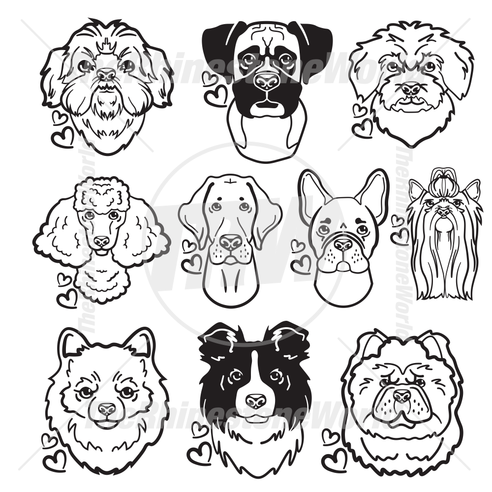 Dog Head Decal Mini Pack 3