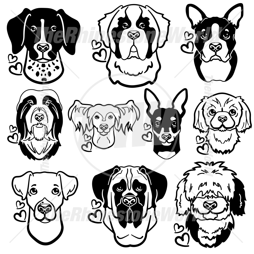 Dog Head Decal Mini Pack 4